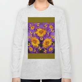 YELLOW BUTTERFLY SWARM LILAC-KHAKI COLOR Long Sleeve T-shirt