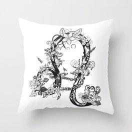 lion black and white zodiac sign Throw Pillow