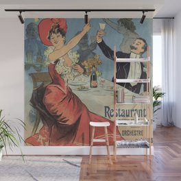 French Paris Restaurant advert by Chéret 1899 Wall Mural