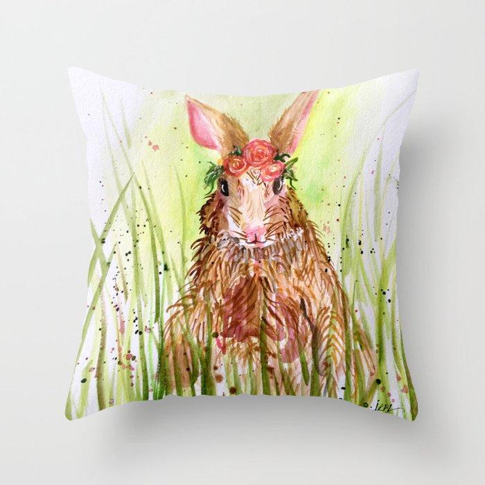 Rosie Rabbit Throw Pillow