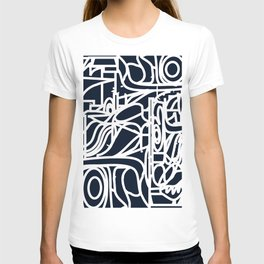 Stained Glass Pattern Black and White T-shirt