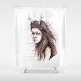 Windblown // Fashion Illustration Shower Curtain