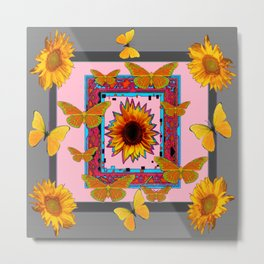SOUTHWEST ART BUTTERFLIES SUNFLOWERS Metal Print