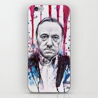 house of cards iPhone & iPod Skins featuring Frank Underwood - House of Cards by Denise Esposito