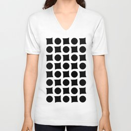 TIMELESS ORA. BLACK AND WHITE GEOMETRIC ELEMENTS Unisex V-Neck