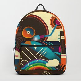 Goodtime Party Music Retro Rainbow Turntable Graphic Backpack