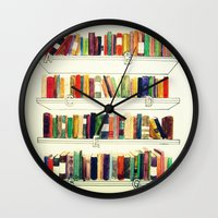 books Wall Clocks featuring Books by Ela Caglar