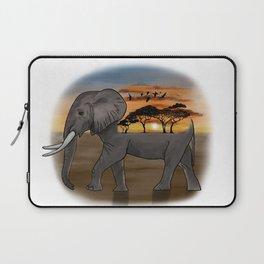 African Elephant, African Sunset, White Background Laptop Sleeve