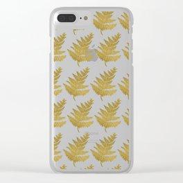 Gold Fern Leaf Clear iPhone Case