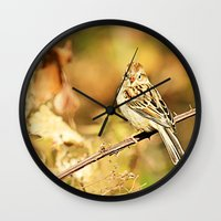 sparrow Wall Clocks featuring Sparrow by Shelby Babbert Photography