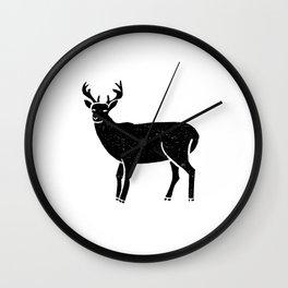 Buck deer antlers portrait minimal black and white linocut printmaking art Wall Clock