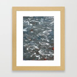 Gray, Blue, and Red Waves Framed Art Print