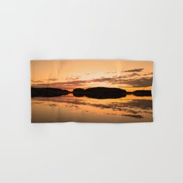 Beautiful sunset - glowing orange - forest silhouette and reflection Hand & Bath Towel