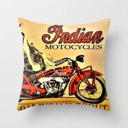 Classic Indian Biker Advertisement Art Throw Pillow