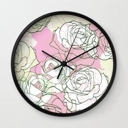 Line art minimal pastel rose petals Wall Clock