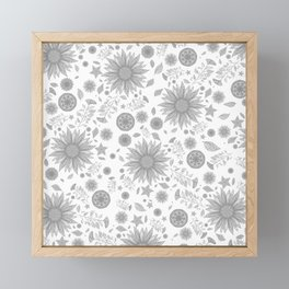 Beautiful Flowers in Faded Gray Black and White Vintage Floral Design Framed Mini Art Print