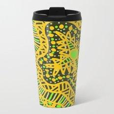 Doodle 16 Yellow Metal Travel Mug