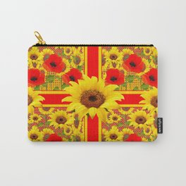 YELLOW SUNFLOWERS RED POPPIES DECO ART Carry-All Pouch