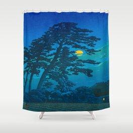 Vintage Japanese Woodblock Print Kawase Hasui Haunting Tree Silhouette At Night Moonlight Shower Curtain