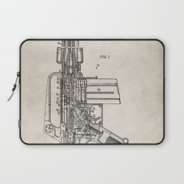M16 Rifle Patent - Military Rifle Art - Antique Laptop Sleeve