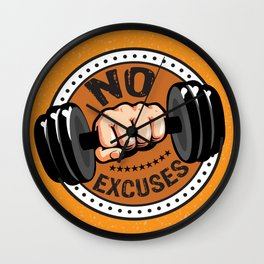 No Excuses Gym Fitness Motivational Quote Wall Clock