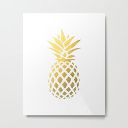 Faux Gold Foil Pineapple Metal Print