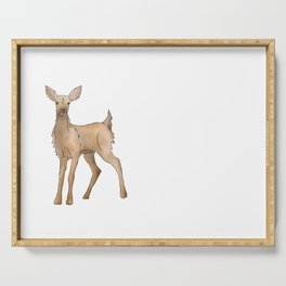Cute Kawaii Brown Deer Watercolor Print Serving Tray