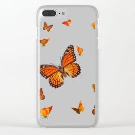FLOCK OF ORANGE MONARCH BUTTERFLIES ART Clear iPhone Case