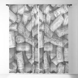 Vintage Wine Bottle Corks Sheer Curtain