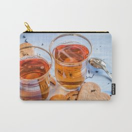 Black tea in two small tea glasses with heart shaped ginger cookies on pastel background Carry-All Pouch