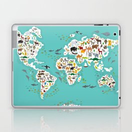 Cartoon animal world map for children and kids, Animals from all over the world Laptop & iPad Skin