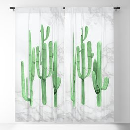 Cactus Trio Marble Green by Nature Magick Blackout Curtain