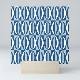 Vintage blue segments Mini Art Print
