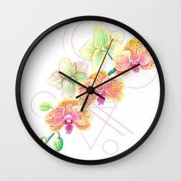 Phalaenopsis Orchid Watercolor Wall Clock