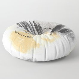 Cream Orange Gray Black Abstract painting -2, Nirvana Decorative abstraction, Floor Pillow