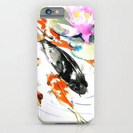 Nine Koi Fish, 9 KOI, feng shui artwork asian watercolor ink painting iPhone Case