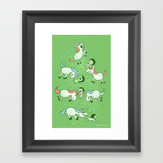 Angry Unicorns Framed Art Print