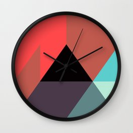 Red Black Blue Triangles Wall Clock