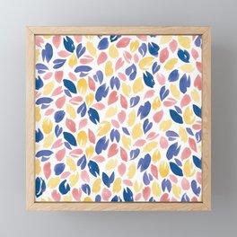 Watercolour Petals | Navy, Coral, Peach Framed Mini Art Print