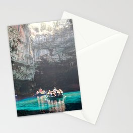 The tour in the cave of Melissani lake in Kefalonia island, Greece Stationery Cards