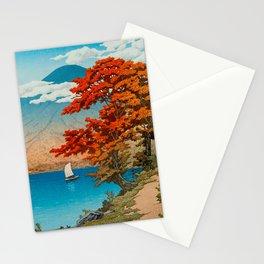 Lake Chuzenji at Nikko by Kawase Japanese Woodblock Print Vintage East Asian Cultural Art Stationery Cards