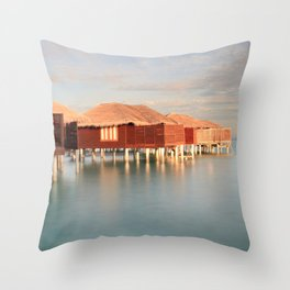 Tropical Maldives Sunrise Beach Bungalows Throw Pillow