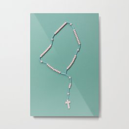 Colored Rosary // Light Blue + Pink Metal Print