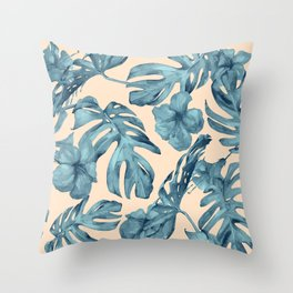 Island Vacay Hibiscus Palm Pale Coral Teal Blue Throw Pillow