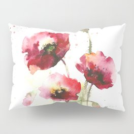 Watercolor flowers of poppy Pillow Sham