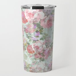 Country chic vintage green blush pink elegant floral Travel Mug