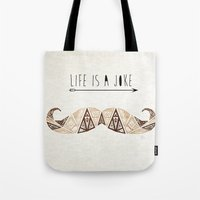 moustache Tote Bags featuring moustache by Manoou