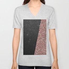 Abstract black rose gold geometrical glitter Unisex V-Neck