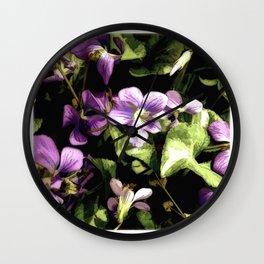 Wild Violets Wall Clock