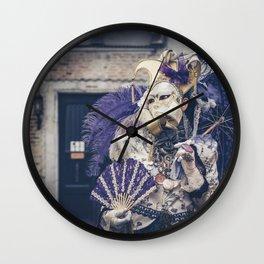 Carnavale di Venezia 2018 purple Wall Clock